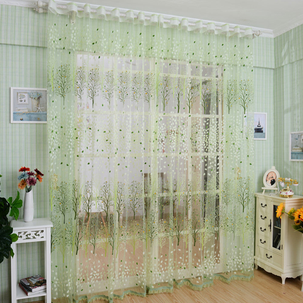 Tree Window Blinds Voile Tulle Room Curtain Sheer Panel Drapes
