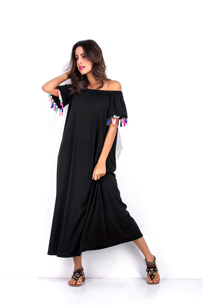 Boho Solid Slash Neck Off Shoulder Straight Maxi Dress