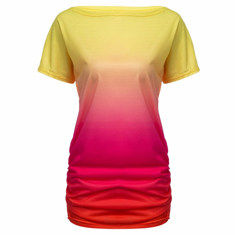 One Shoulder Slash Neck Dye Print Loose Women T-Shirt