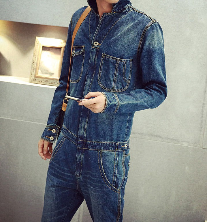 Casual Full Sleeve Blue Jeans Denim Jumpsuits