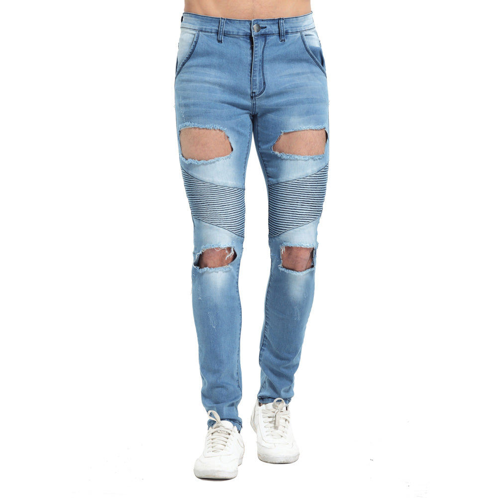 Gradient Color Ripped Knee Urban Jeans