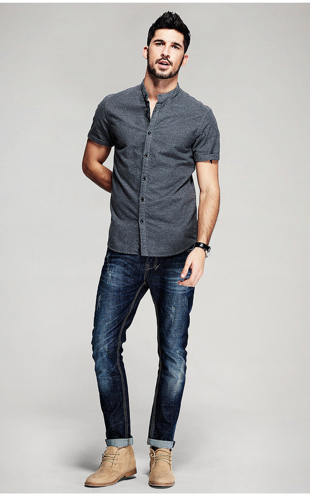 Casual Slim Fit Short Sleeve 100% Cotton Gray Man's Shirt