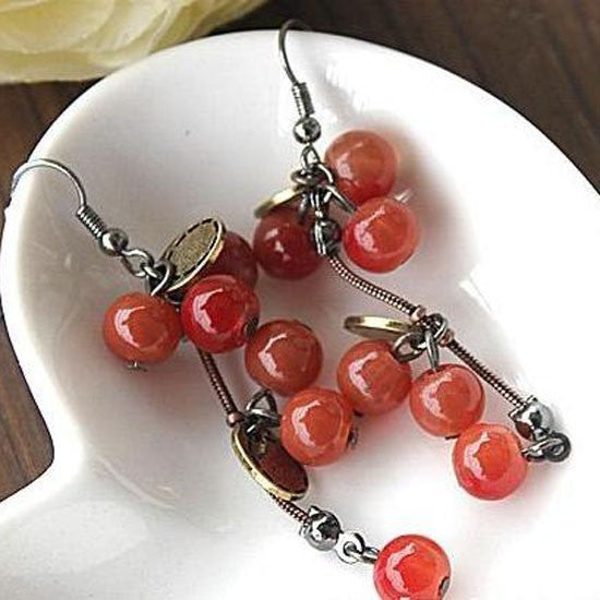 Vintage Retro Cute Gold Cherry Bohemia Long Earrings