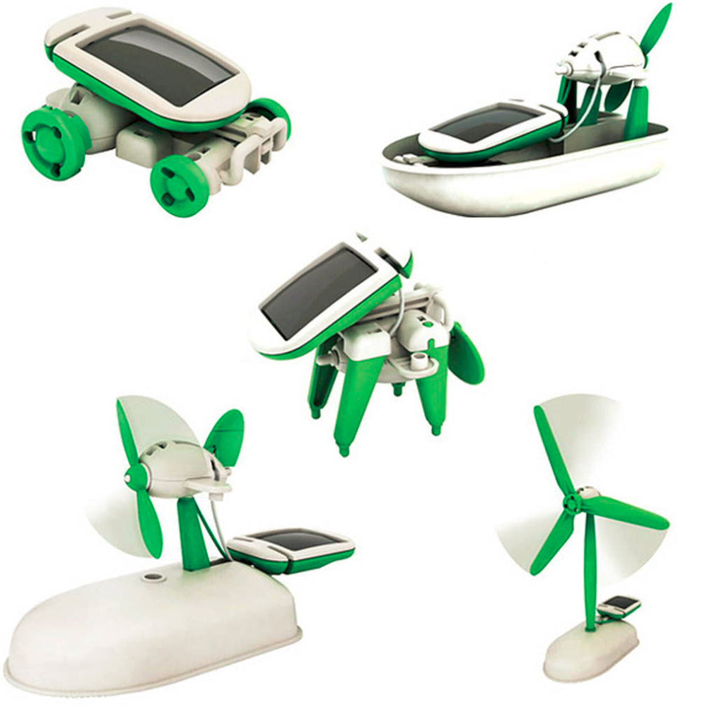 Creative DIY 6in1 Power Solar Robot Kit Educational Car Boat Dog Fan Moving