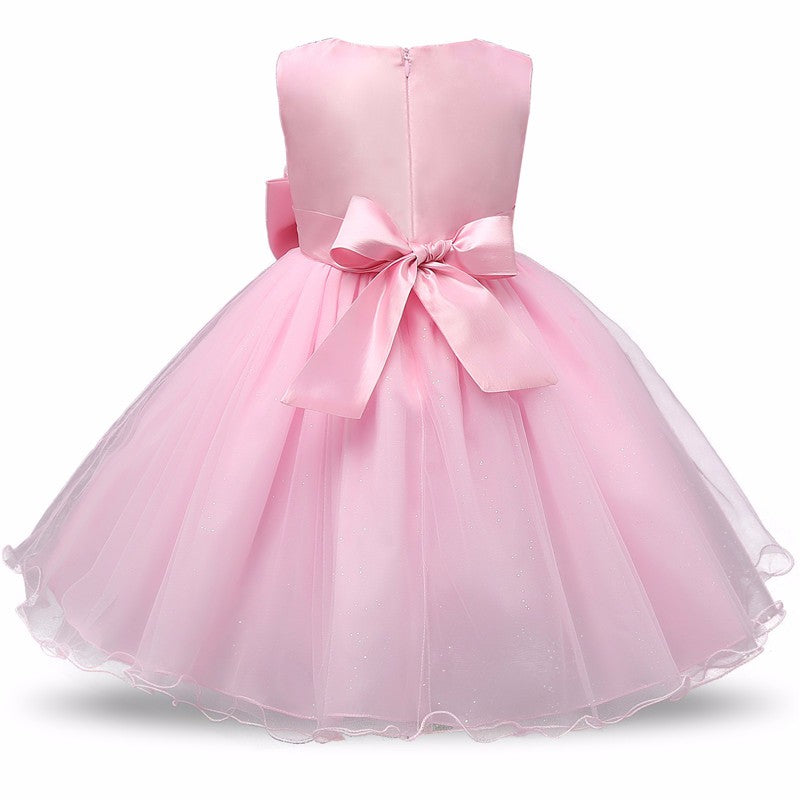 Cute O-Neck Sleeveless Princess Flower Tutu Bow Dress