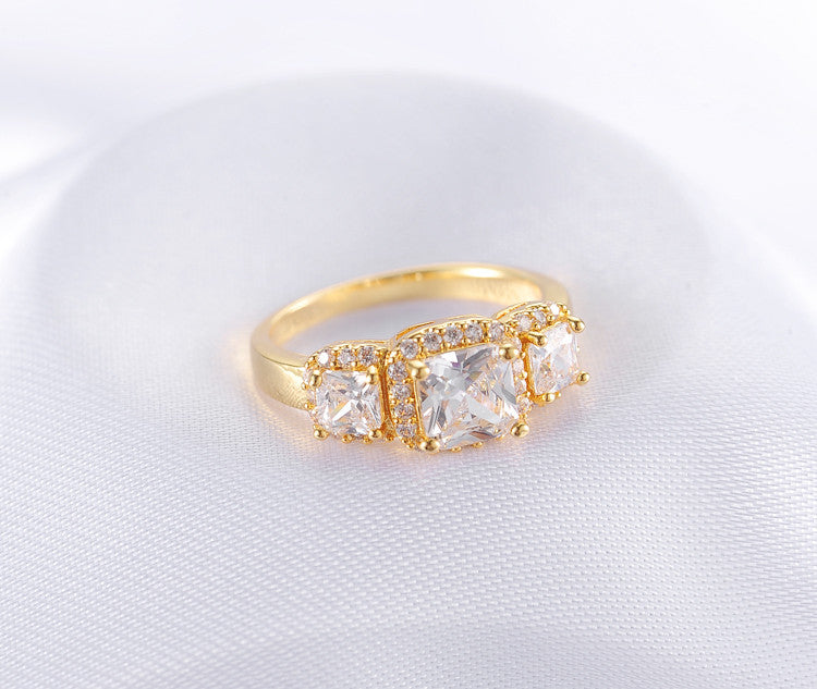 Geometric Cubic Zirconia Gold /Silver Plated Cocktail Ring