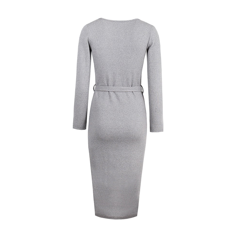 Sexy Slim Bodycon Knitted Button Knee-Length Sweater Dress