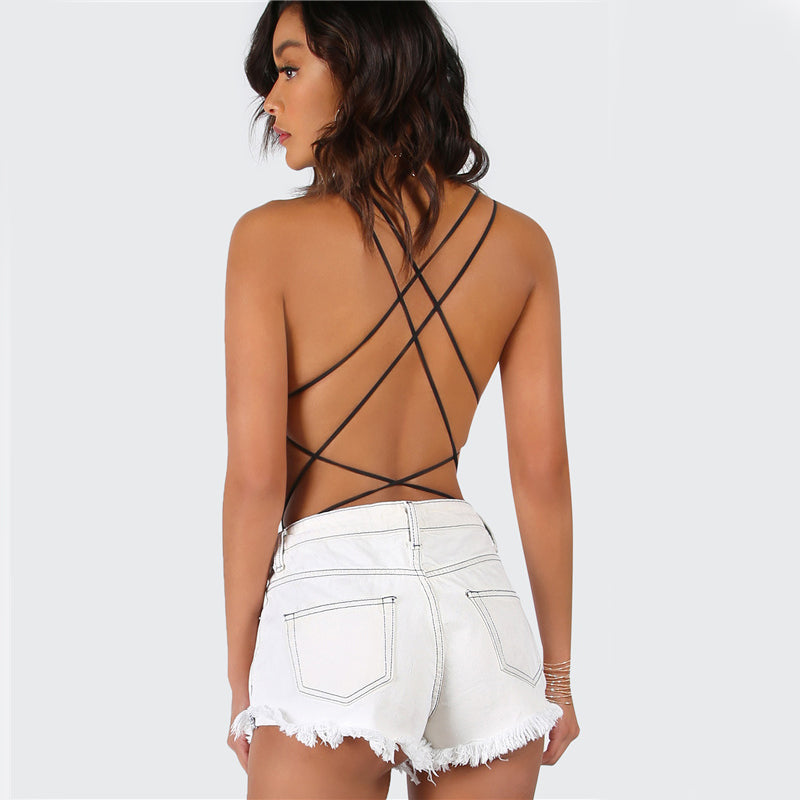 Hollow Out Strappy Backless Scoop Neck Cross Black Bodysuit