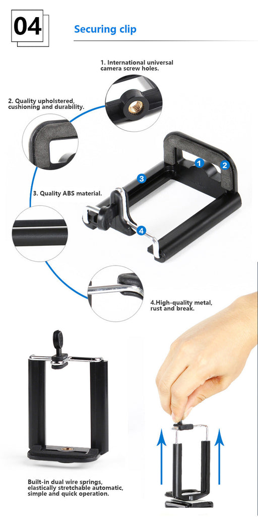 Mini Mobile Phone Camera Tripod Stand Clip Bracket Holder For iPhone Samsung