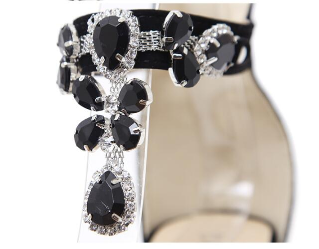 Crystal Rhinestone Chain Thin High Heels Women Black Sandals