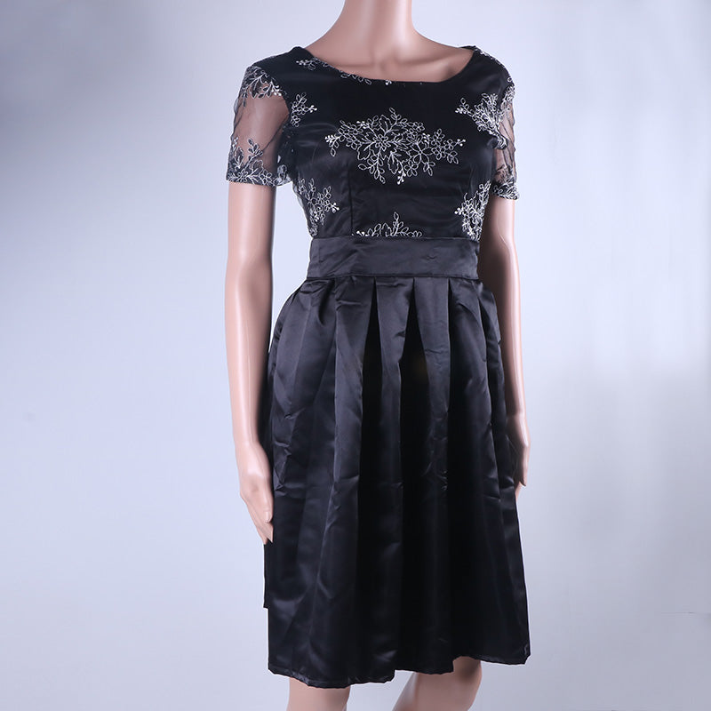 Casual Knee Length Pleated Embroidery Lace Backless Vintage Sundress