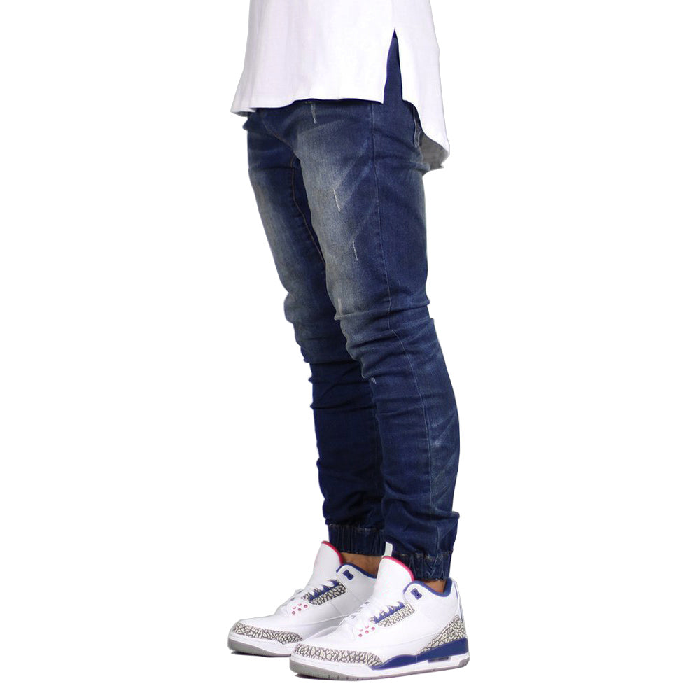 Softener Light Wash Slim Solid Stretch Denim Jeans For Men