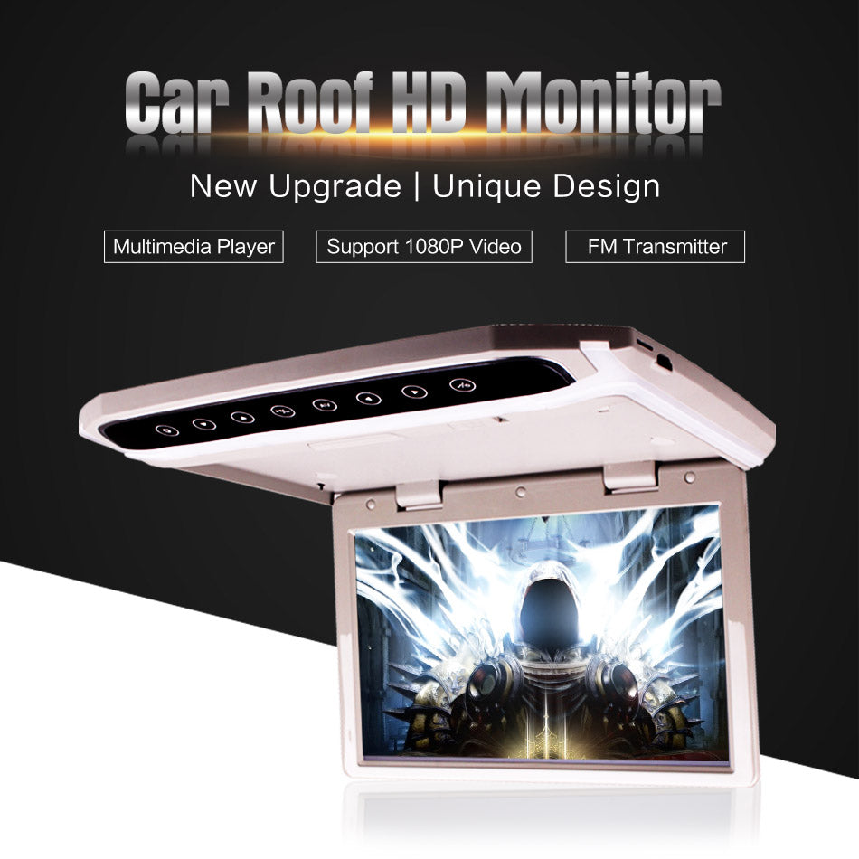 Car Roof Mounted Overhead Flip Down MP4 MP5 Video Player HD LED Monitor With HDMI