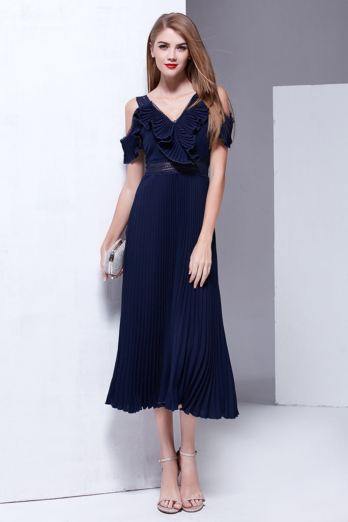 Hollow Out Off The Shoulder Ruffles Patchwork Draped Long Dress