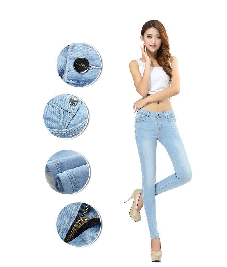 Outfit Size Women Jeans Waist Slimming Feet Pencil Long Pants