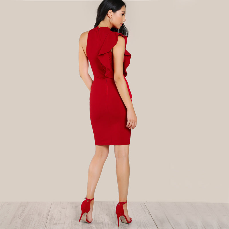 Gorgeous One Sided Exaggerated Frill Red Ruffle Bodycon Midi Dress