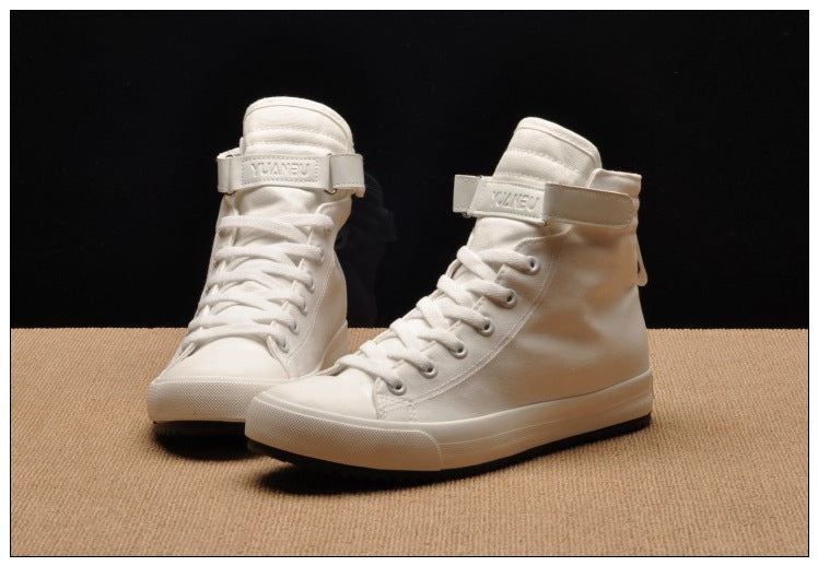 Men Casual Shoes Breathable Black High-Top Lace-up Canvas
