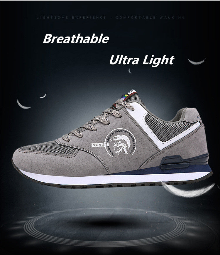 Comfortable Breathable Mesh Leather Outdoor Running Men Sneakers