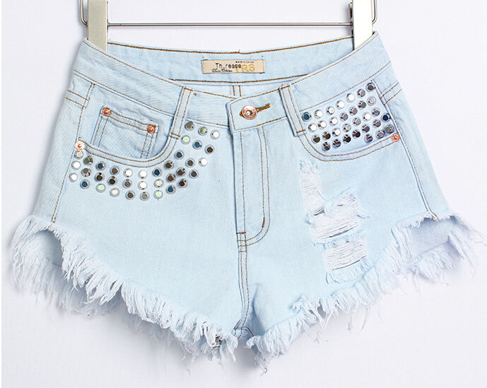 Hot Rivet Ripped Jeans Short Jeans