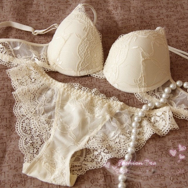 Deep V Lace Translucent Gathered Bra & Brief Sets