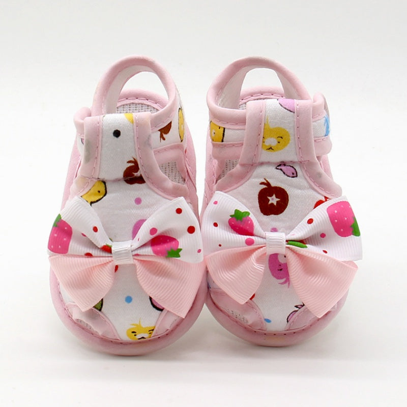 Comfortable Sweet Bow Cartoon Cotton Flat First Baby Sandals