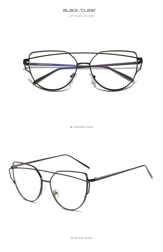 Vintage Cat Eye Metal Reflective Flat Lens Sunglasses For Women