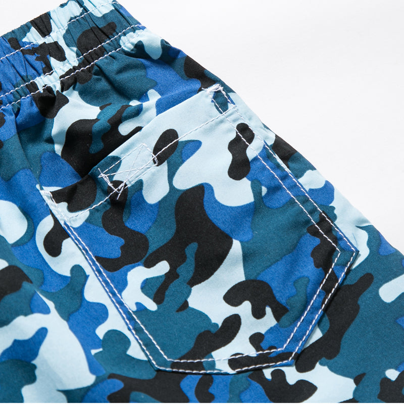 7-15yrs Elastic Waist Camouflage & Geometric Pattern Child Board Shorts