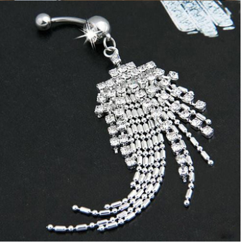 Rhinestone Long Tassel Navel Beads Dangle Pendant Button Belly Ring