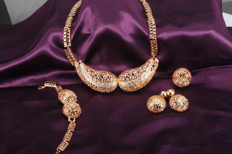 Exaggerated African Earing Dubai Bridal Crystal Perhiasan Gold Jewelry Set