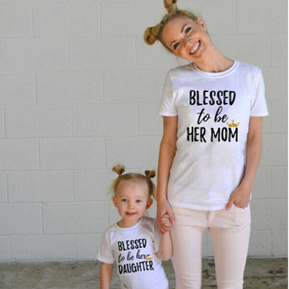 """Blessed To Be"" Mother Daughter Matching Cotton T-Shirts"