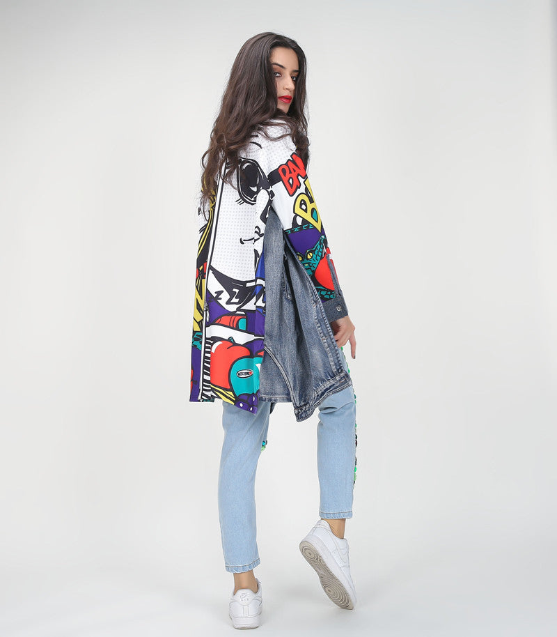 Fashion Graffiti Print Spliced Ripped Pockets Long Sleeve Trench Coat