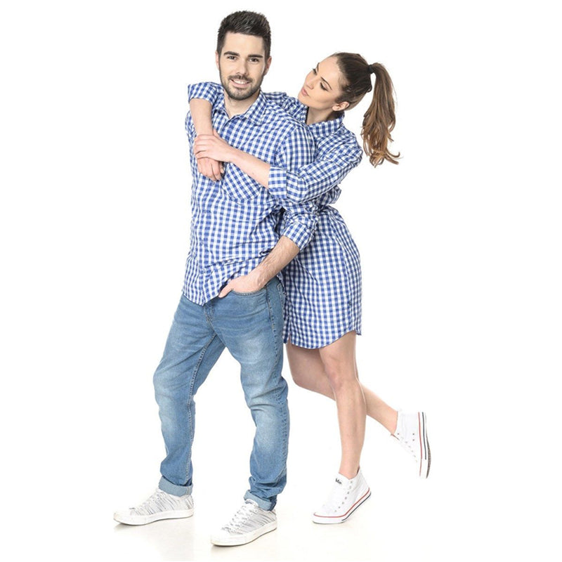 Casual Breathable Long Sleeve Plaid Family Look Shirt & Dress