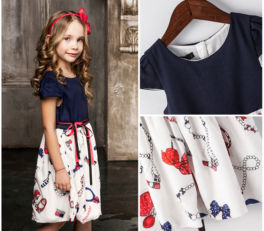 2-8Yrs European & American Style Floral Printed Girls Summer Ball Gown