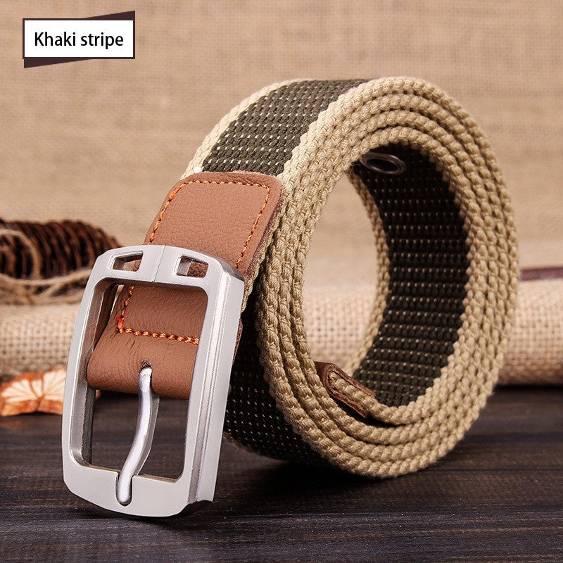 Real Solid Pin Buckle Canvas Knitted Strap Casual Belt