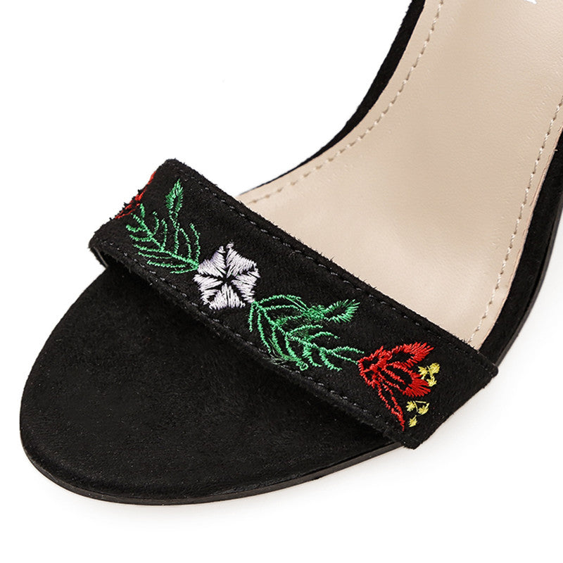 Floral Embroidery Thick Super High Heels Ankle Buckle Women Sandals