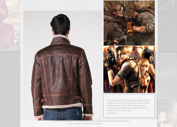 Biohazard Resident Evil 4 Leon S Kennedy Costume Leather Coat
