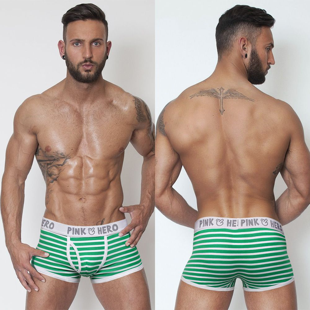 Comfortable Breathable Cotton Striped U Convex Men Boxer Panties