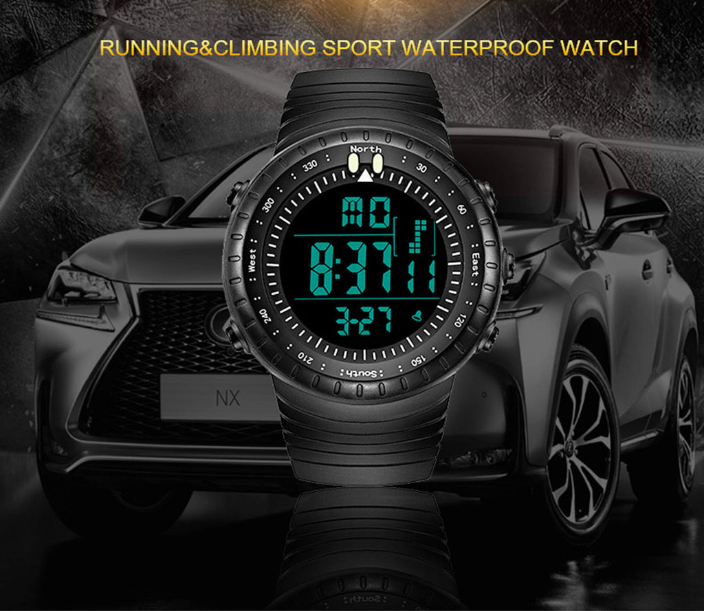50M Waterproof Men Sport Silicone LED Watch