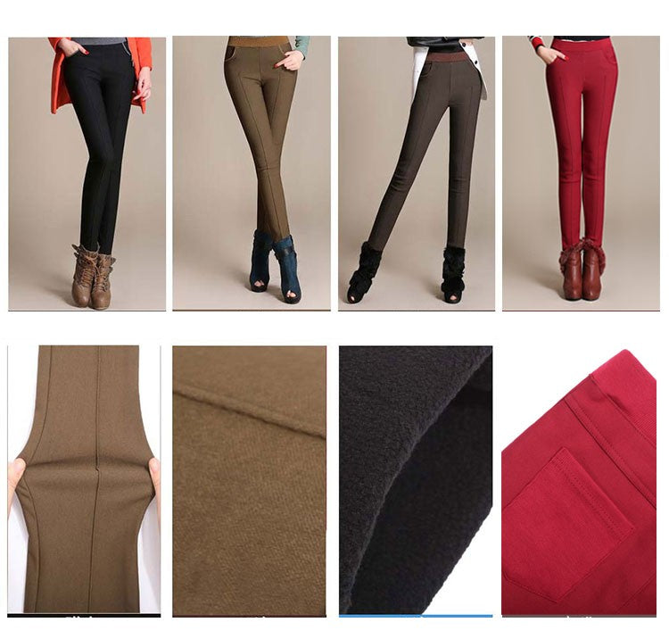 Stretch Casual Cotton Plus Size Thick Fleece Elastic Waist Pencil Pants