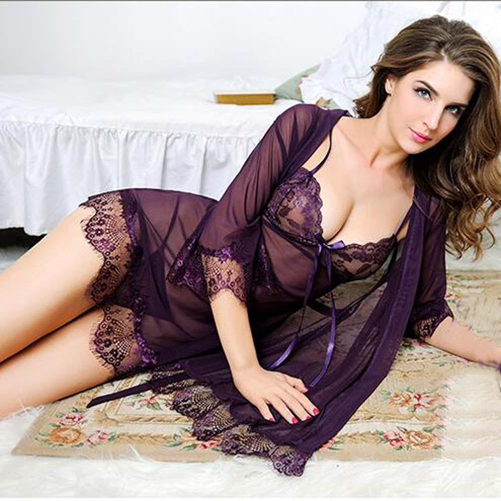 Sexy V-Neck Lace Transparent Erotic Lingerie Conjoined Dress Suit