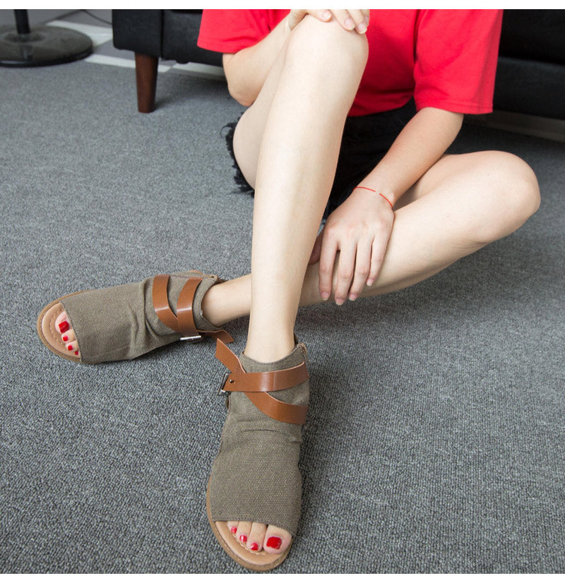 Breathable Open Toe Low Heels Gladiator Denim Women Wedge Sandals