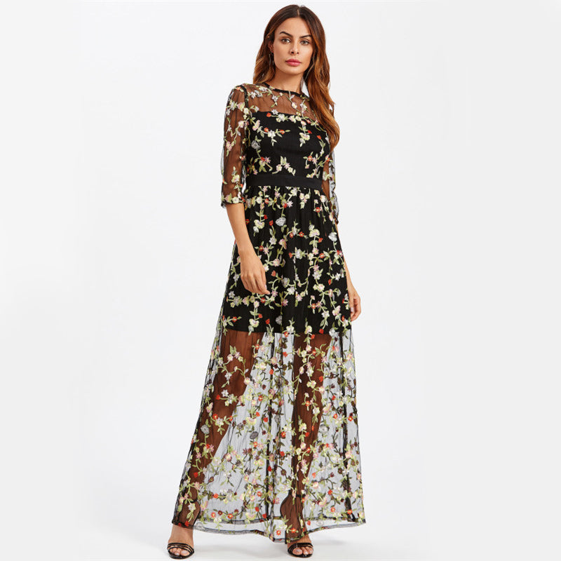 2 In 1 Mesh Overlay Botanical Embroidery Black Sheer Maxi Dress