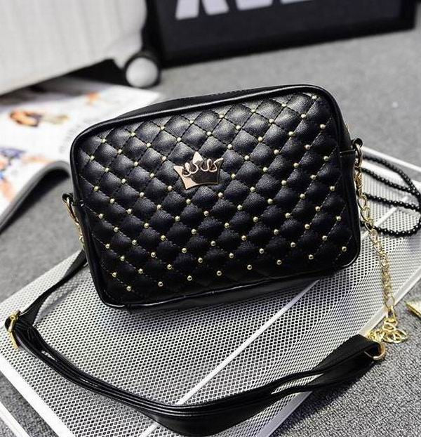 Women Crown Rivet Chain Crossbody Shoulder PU Leather Candy Color Bag