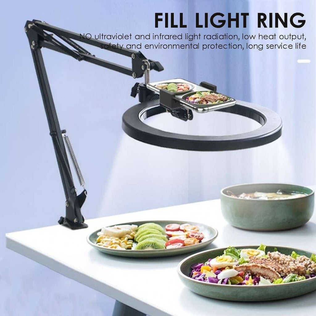 Long Arms Dimmable 26cm Ring Light With Phone Holder