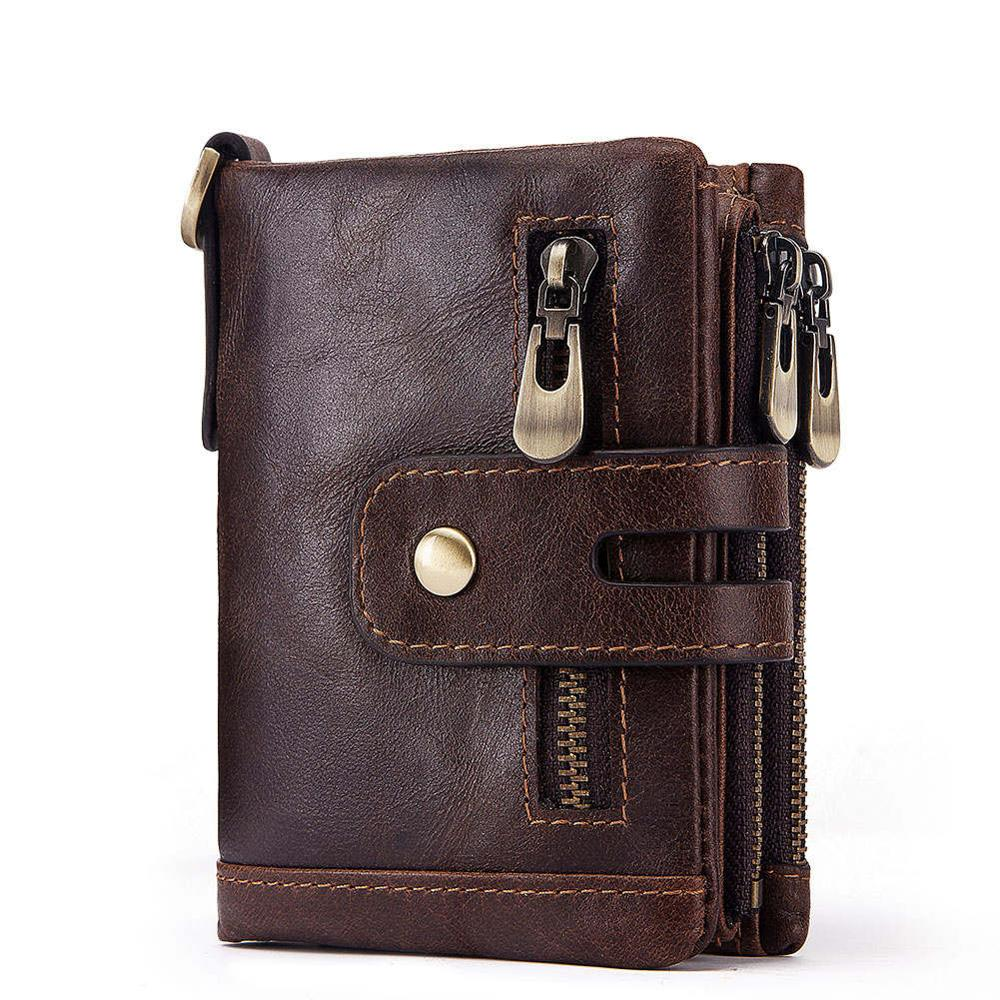 Small Hasp Rfid Genuine Cow Leather Men Wallet