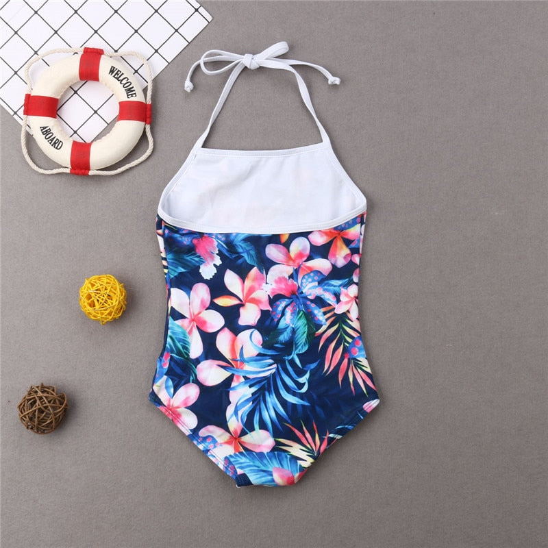 Cute Floral Printed Mother-Daughter Matching Swimwear
