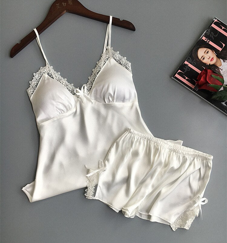 Two Piece Set Lace Cotton Women Pajamas With Chest Pad