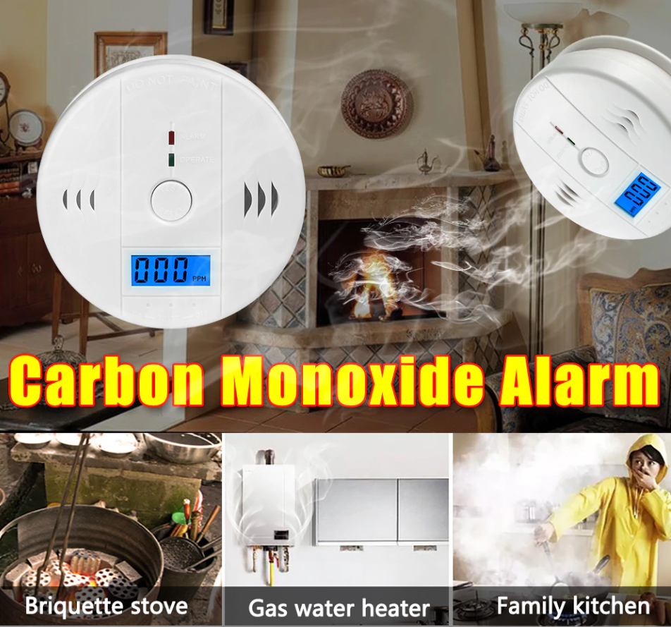 CO Carbon Monoxide Poisoning Smoke Gas 85dB Sensor Warning Alarm With LCD Display