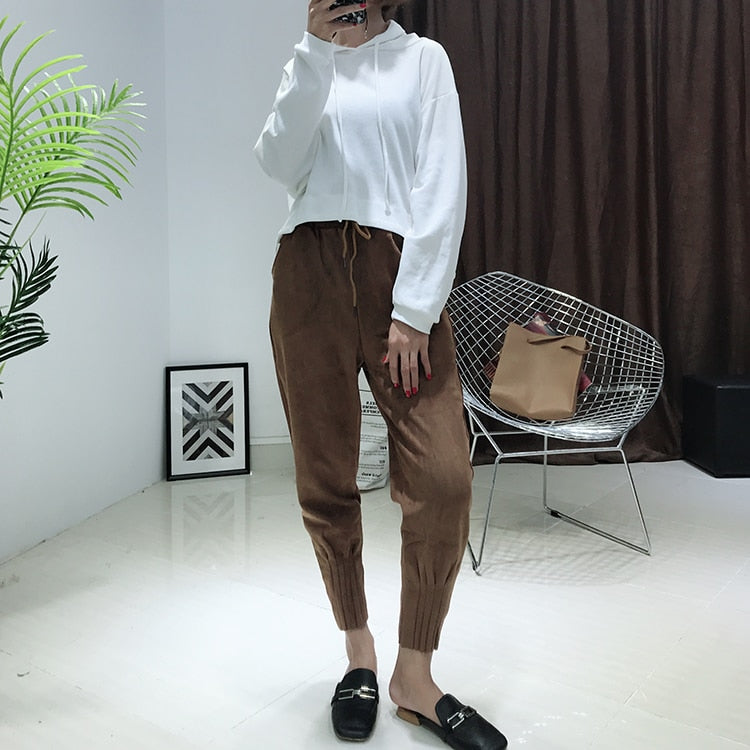 Korean Style High Waist Pockets Suede Brown Harem Pants For Women