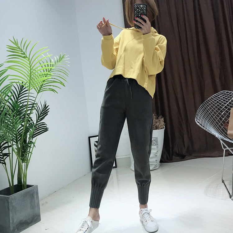 Korean Style High Waist Pockets Suede Black Harem Pants For Women